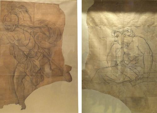 La restauración ha descubierto un dibujo inédito en el reverso de uno de los cartones.