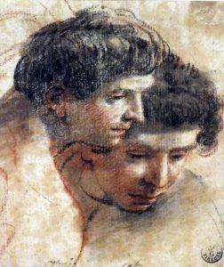 Eugenio Cajés Madrid 1574 - 1634 Estudios para dos cabezas de ángeles mancebos, h. 1616